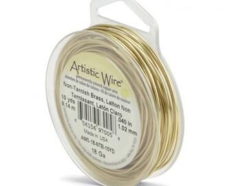 18 Gauge - Brass Wire  -  Artistic /Craft Wire-  Tarnish resistant 10 yd Pkg