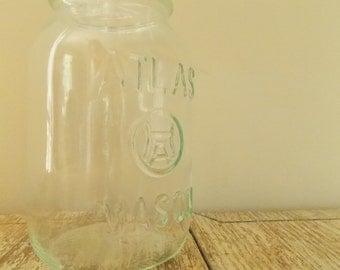 "Vintage Hazel Atlas ""H over A"" in Circle Mason Jar | 1960s Clear Quart Square Canning Jar"