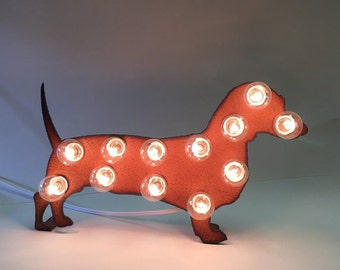 Wiener Dog Dachshund mini marquee lighted sign