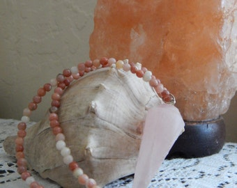 Rose Quartz Point Pendulum Pendant with Lepidolite Beads and Silver Chain