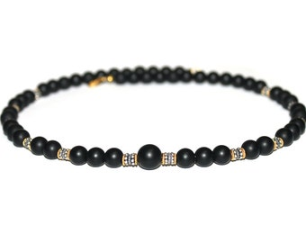 Men's Matte Black Onyx, Sterling Silver, and 22 Karat Gold Vermeil Beads Necklace