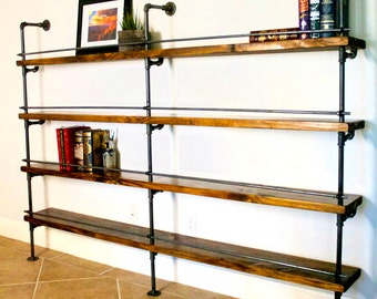 Industrial Shelving Unit, Industrial Bar, Industrial bookcase, Industrial bookshelves, pipe shelving unit w/ optional reclaimed wood