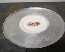 WROUGHT FARBERWARE Tray with TRIUMPH  Limoges Imperial Victorian - T insert ** 22k White Gold ** made in U S A