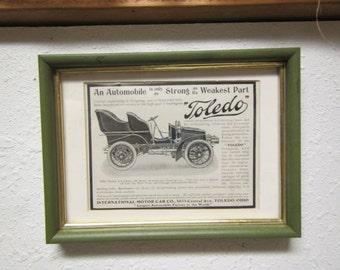 """Framed 1903 model """" TOLEDO 4 cylinder TOURING CAR """" Harper's  magazine ad """""""