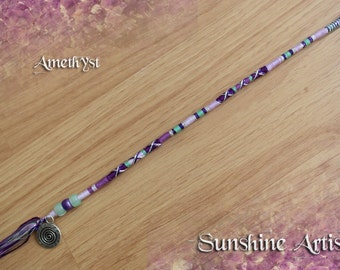 Swirl pendant hair wrap, clip in hair braid in deep purple, lavender lilac, mint green, silver purple sparkly, Glow in the dark pony beads