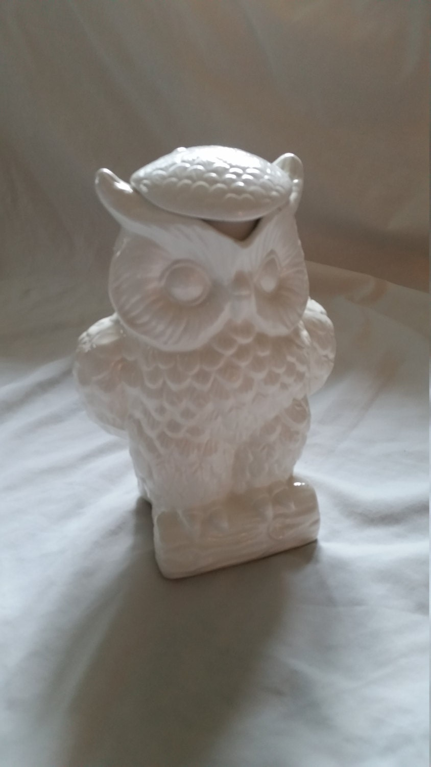 Vintage Ceramic White Owl Pitcher