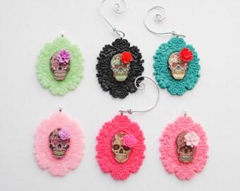 Sugar Christmas Ornament, Custom Sugar Skull Ornament, Sugar Skull Christmas Ornament, Day of the Dead Ornament, Gifts, Gothic Ornament