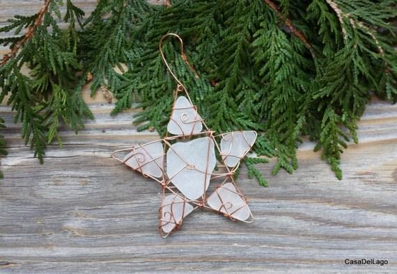Beach glass sea star ornament sun catcher by casadellago