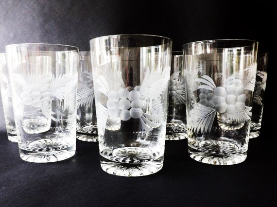 Set 6 etched drinking glasses high ball whiskey old fashioned Unusual drinking glasses uk