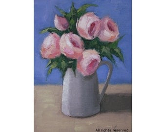"Oil Painting ''Flowers in a pot"" Still Live Painting, Fine Art Oil on Canvas, Pink Flower Small Painting Home Decor 13x18cm"