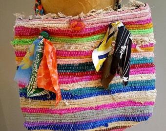 rag rug bag bohemian bag large beach tote woven purse rug shoulder