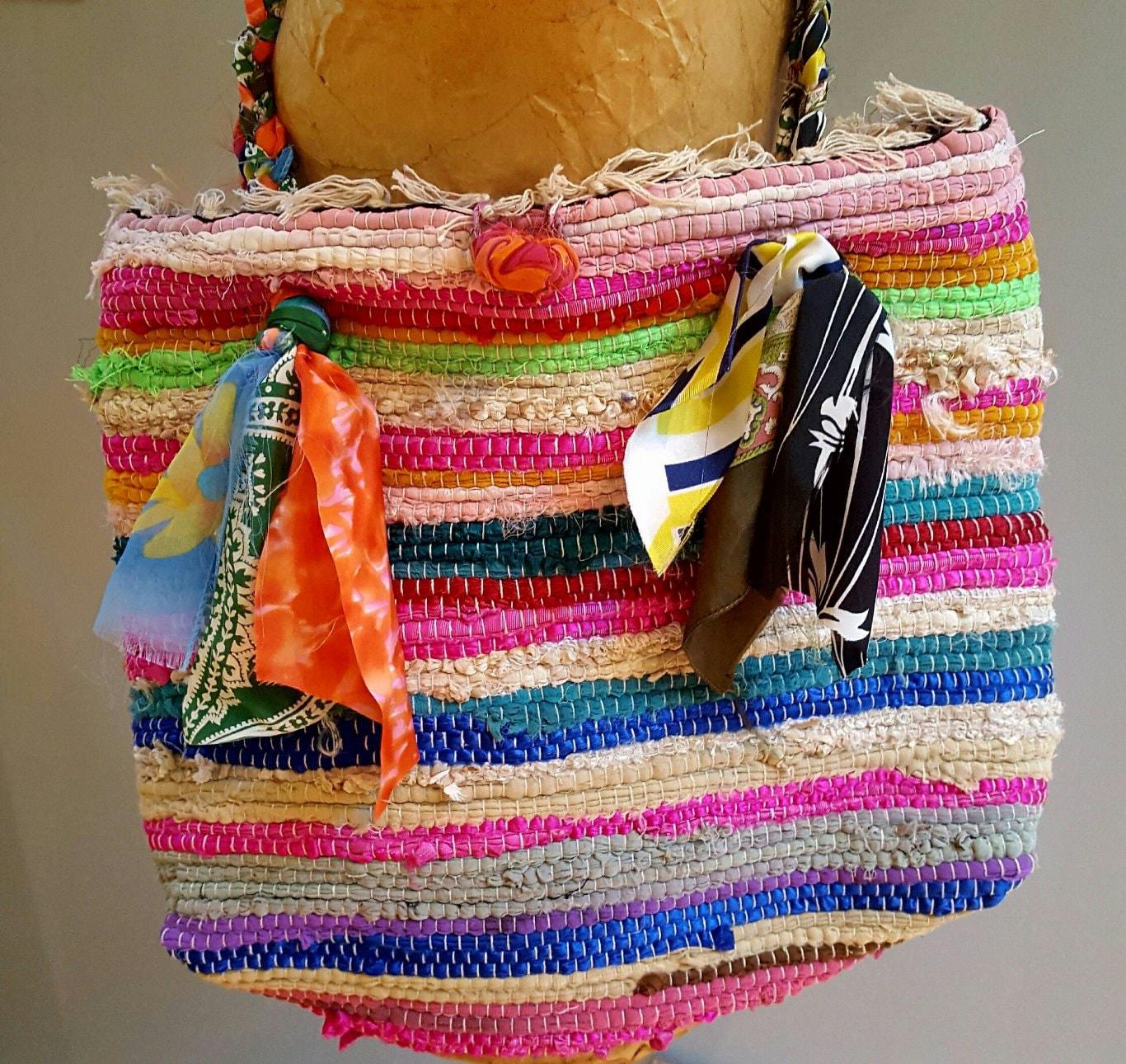 Rag Rug Large: Rag Rug Bag Bohemian Bag Large Beach Tote Woven Purse Rug