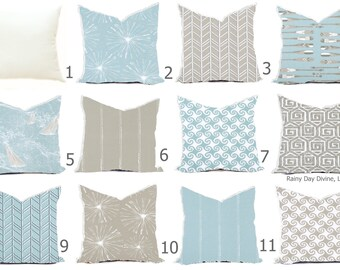 Pillows Covers - Blue Spa Mist Ice Taupe Gray Modern- All sizes 16x16  18x18  Throw Toss Accent Pillow Home Coastal