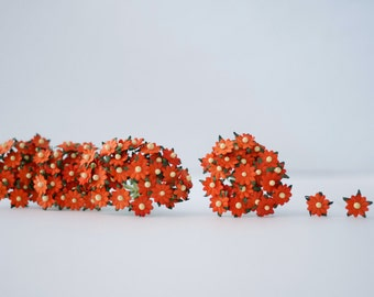 Paper Flower, 100 pcs. Flat, Small daisy flowers size 0.5 cm. Scarlet (orange to be red) color.