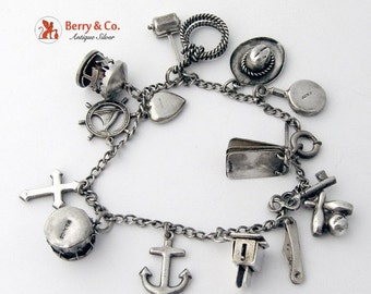 SaLe! sALe! Vintage Nautical Cowboy Charm Bracelet Sterling Silver 1930