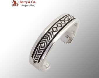 Navajo Large Massive Cuff Bracelet Inside Outside Designs Sterling Silver