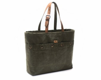 Tote bag, canvas bag, recycled canvas bag, canvas tote bag from duffle bag with leather handles