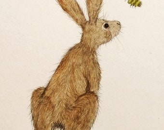 The Hare and the Bumblebee Archival Art Print - Animal Illustration / Children's Wall Art / Whimsical / Nursery Decor