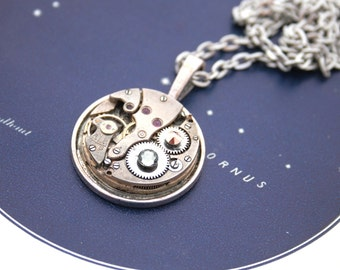 Steampunk Pendant Necklace Statement Jewelry Timepiece Necklace Steam punk Jewelry Watch Mechanism Birthday Gift Necklace