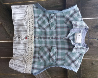 Upcycled, Vest, Flannel, Flannel Vest, Cropped Shirt, Remade Shirt, Tattered, Rustic, Bohemian, Country, Frayed