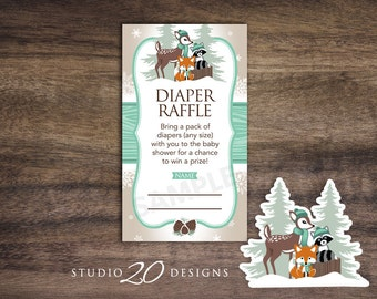 Instant Download Winter Woodland Baby Shower Diaper Raffle Cards, Mint Gender Neutral Woodland Baby Shower Diaper Raffle 77A