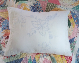Shabby Chic Pillow Vintage Blue Embroidery Grape Motif & Antique Lace Lumbar Pillow Boudoir Pillow