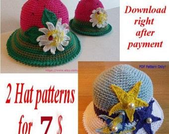Crochet Hat Pattern, Summer Hats Sale, Women Crochet Hat Pattern, Promotion, Children Crochet Hat patterns, girl, patterns deal, baby