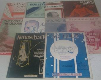 Vintage 1920's (1926-1929) Sheet Music Lot of 10 Pieces, Lyrics, Piano, Uke, Banjo, Waltz