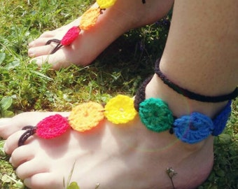 Crochet Barefoot Sandals in 7 Chakra style ~ rainbow ~ beach wear ~ festivals ~ yoga ~ perfect for grounding!