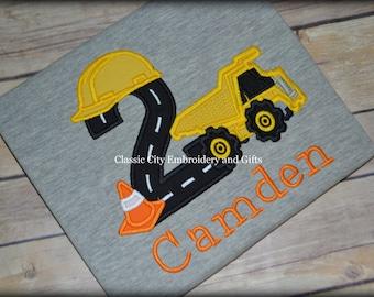 Construction birthday shirt, dump truck birthday shirt, truck birthday, truck tshirt, boy birthday shirt, toddler birthday shirt, boy tee