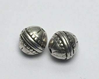 2 round metal beads,14mm, antique silver  # PM004