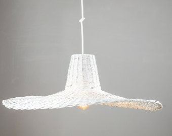 Oryginal white pendant light Hanging designer eco lamp  Ceiling handmade lamp Unique Big Decorative lamp Living Dining room Minimal Misia