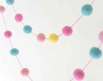 Pink Cyan & Yellow Felt Ball Garland. Girls Room Decor. 35 Felt Balls 2 metres. Girls Nursery Decor. Kids Room. Pom Pom Garland. Home Decor.
