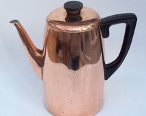 Vintage copper teapot mid century large tea pot kettle modern shape 1960s vintage kitchenalia Bakelite handle and knob