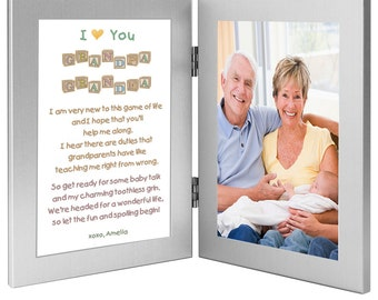 gift for grandparents from baby touching poem frame from grandchild add photo 70 102