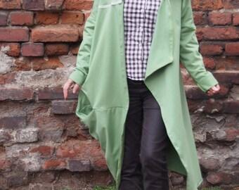 Extravagant Quilted Jersey Coat Аsymmetric Long Coat & Nara DP003