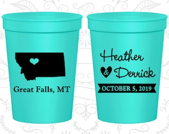 Montana Wedding Cups, Montana Wedding, Personalized Beer Cups, Destination Wedding, State Cups, Wedding Cups (125)
