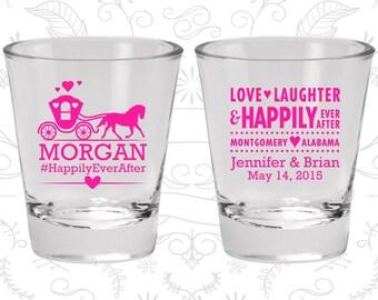 Love Laughter Shot Glasses, Custom Shot Glasses, Fairy Tale Wedding Shot Glasses, Princess Carriage, Wedding Favor Shot (552)