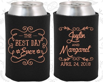 The Best Day Ever, Personalized Wedding, Vintage Wedding Favors, Floral Wedding Favors, Romantic Wedding Favors, Personalized Coolies (384)
