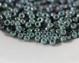 TOHO Seed Bead 8/0 ~ Marbled Opaque Turquoise/Blue ~ 8g-24g (TR-08-1207) D-10