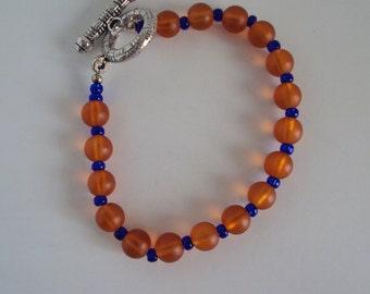 Orange and Blue Beaded Bracelet