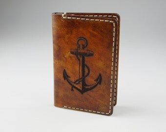 Mens Leather Credit Card Wallet  -  Engraved Anchor #5