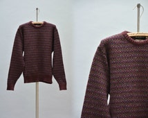 80s Wool Sweater - Vintage 80s Crew Neck Pullover by Harry Rosen Burgundy Wine Multicolor Checkers Fairisle Warm Wool Sweater Size L Large