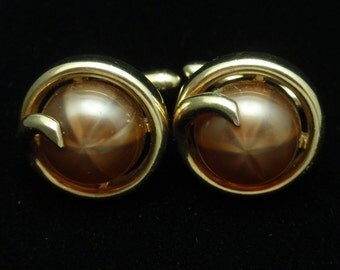 Retro Swank Cuff Links with Bronze Tone Asterism Cabs