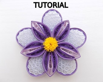 Paper quilling tutorial, quilled flower instructions, quilling tutorial, quilling instructions, instant download, pdf, step by step
