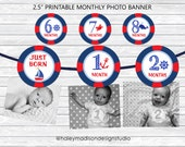 Nautical 12 month photo birthday banner, Nautical, Sailor, Navy Red party banner decoration DIGITAL FILE
