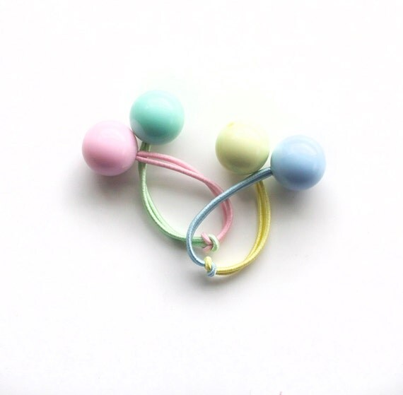 SUMMER SORBET. Bobble Hair ties. Elastic hair ties. Funky. Retro style hair bobbles. Pastel.