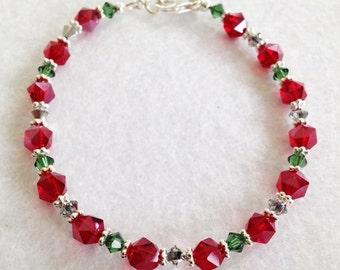 Christmas Red & Green Crystal, Sterling Silver Bracelet (B21)
