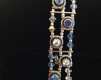 Blue & Clear Swarovski Crystal, Sterling Silver Bracelet (B22)