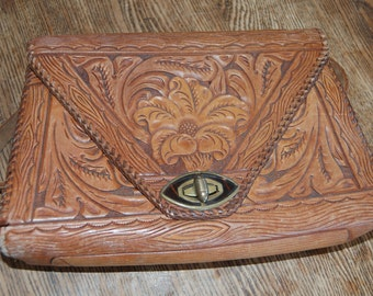 1940's or earlier leather hand tooled hand carved handbag